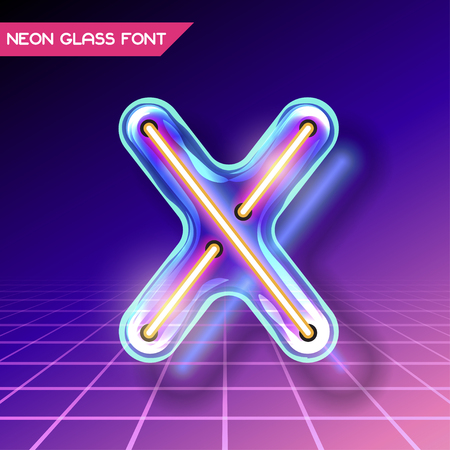 fluorescent tubes: Retro neon glowing glass alphabet font with transparency and shadows. 3D light bulb isolated letter X on dark backgrounds