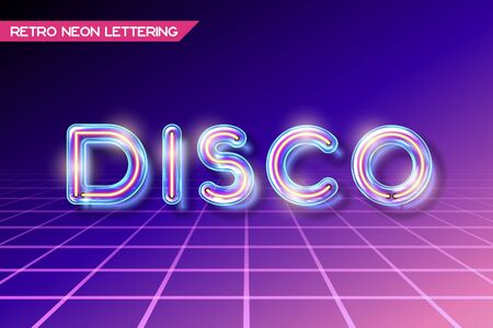 fluorescent tubes: Retro neon glowing glass DISCO lettering with transparency and shadows. 3D light bulb advertising on dark backgrounds Illustration