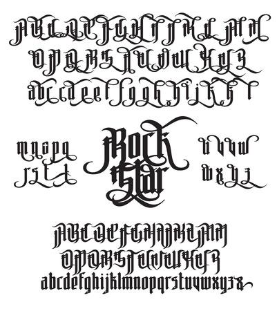 Rock Star moderne gotische stijldoopvont. Vector Illustratie