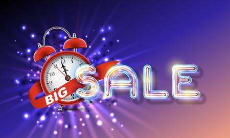 disposition: Red alarm clock concept - Big Sale Illustration