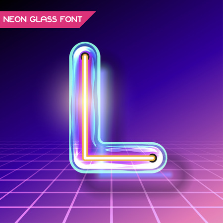 Retro neon glowing glass alphabet font with transparency and shadows. 3D light bulb isolated letter L on dark backgrounds