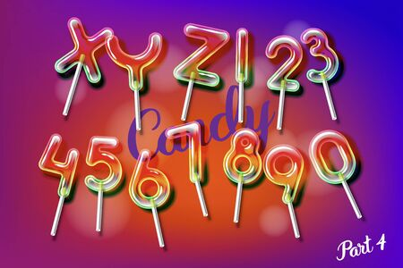 Sweet candy lollipop alphabet font with trancparency and shadows. 3D fruity ice bulb isolated letters and numbers