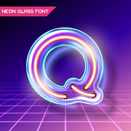 fluorescent tubes: Retro neon glowing glass alphabet font with transparency and shadows. 3D light bulb isolated letter Q on dark backgrounds Illustration