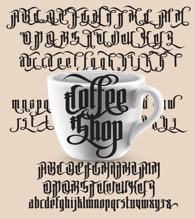 Vintage gothique police moderne sur fond de cuir de la vieille caf style gothique moderne style avec tasse blanche lettres gothiques avec des lments de thecheapjerseys Image collections