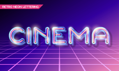 fluorescent tubes: Retro neon glowing glass CINEMA lettering with transparency and shadows. 3D light bulb advertising on dark backgrounds Illustration