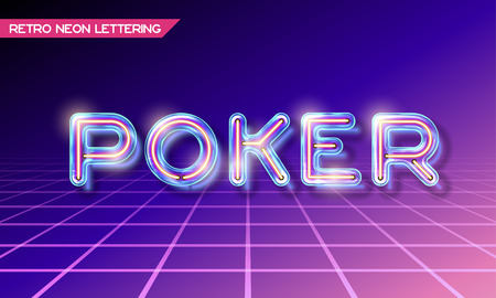 Retro neon glowing glass POKER lettering with transparency and shadows. 3D light bulb advertising on dark backgrounds