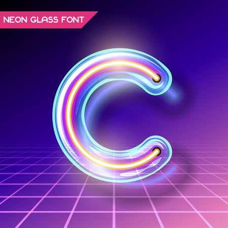 Retro neon glowing glass alphabet font with transparency and shadows. 3D light bulb isolated letter C on dark backgrounds Illustration