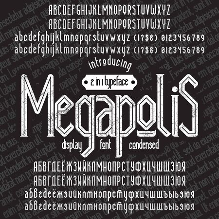 megapolis: Megapolis - modern display condensed serif font. Minimalistic typeface. Alphabet full character set, numerals & punctuations, accents (multilingual characters) and cyrillic