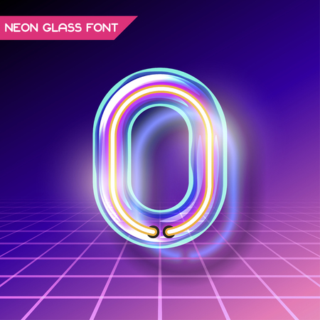 fluorescent tubes: Retro neon glowing glass alphabet font with transparency and shadows. 3D light bulb isolated number 0 on dark backgrounds