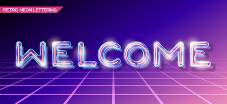Retro neon glowing glass WELCOME lettering with transparency and shadows. 3D light bulb invitation on dark backgrounds Illustration