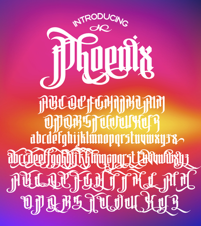 gothic style: Phoenix - modern gothic Style Font. Gothic letters with alternate decoration elements. Vector alphabet