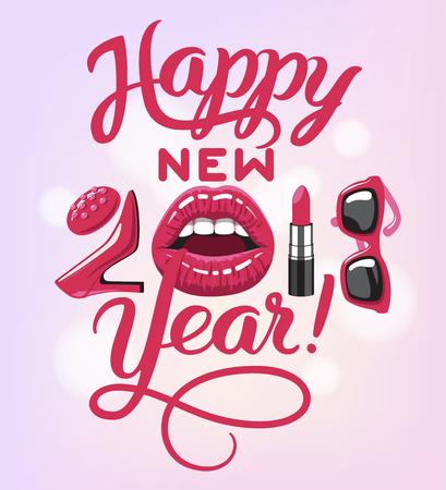 2018 jaar. vrouw dingen. Rode glanzende lippen van open mond, make-up lippenstift, hoge hakken schoenen mode zonnebril. Vector illustratie