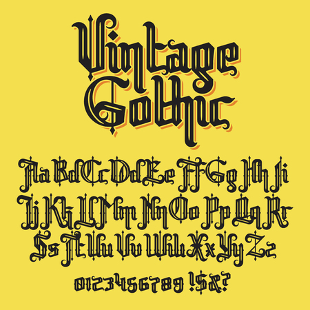 Decorative Vintage gothic typeface. Stock lettering illustration
