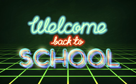 Welcome back to school - retro neon lettering. Stock vector typography