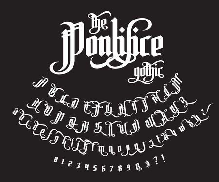 The Pontifice - vintage gothic label font. Vector typeface with swashes, alternate glyphs and ligatures on the old dark background. Illustration