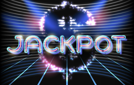 Jackpot casino neon lettering stage on background with glowing wall. Vector abstract background