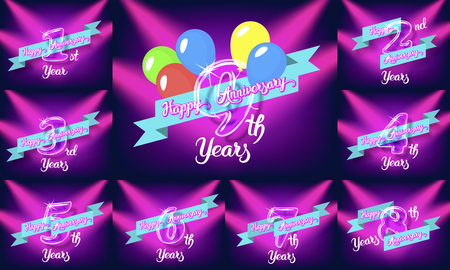 Happy anniversary congratulation cards pack. Glass bulb numbers with ribbon on the colorful neon background