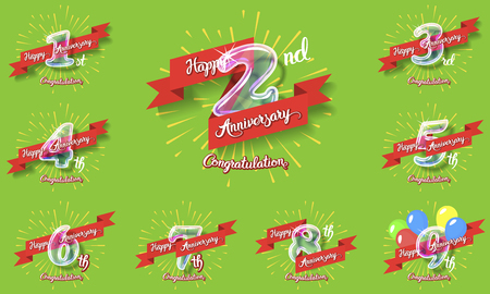 Happy anniversary congratulation cards pack. Glass bulb number with ribbon and party decoration on the colorful background