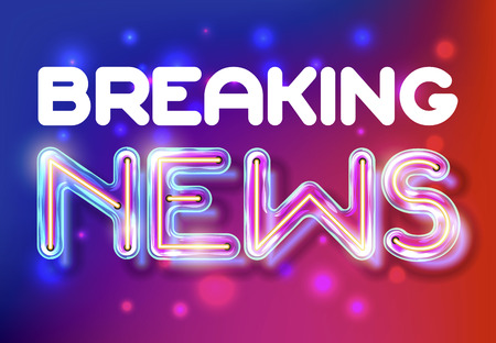 Breaking News - retro neon lettering on the abstract background with color lights. Vector illustration