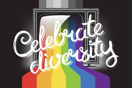 Celebrate diversity concept lettering with retro tv with rainbow. Color paint flows from screen. Vector illustration