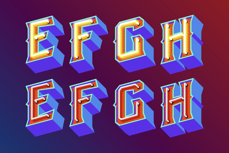 old english: 3D vintage letters with fluorescent neon lights and ON OFF switch mode. Vector retro illustration Illustration