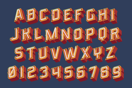 3D vintage letters with neon lights. Vector retro illustration 向量圖像