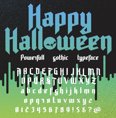 old english: Happy Halloween. Fresh new powerfull gothic typeface. Vector alphabet