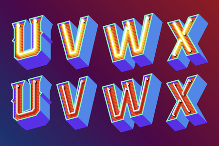 3D vintage letters with fluorescent neon lights and ON OFF switch mode. Vector retro illustration Illustration