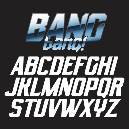 Cool strong futuristic alphabet lettering font - BANG bang! Good for bright captions and unforgettable logos.