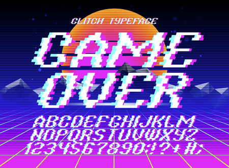 Glith typeface Game Over. Glitched font and numbers set on futuristic retro background Stock Vector - 85493694