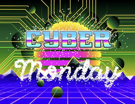 Cyber Monday advertising poster. Retro synth wave landscape
