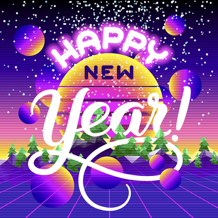 Happy New Year lettering congratulation card. Retro synth wave landscape