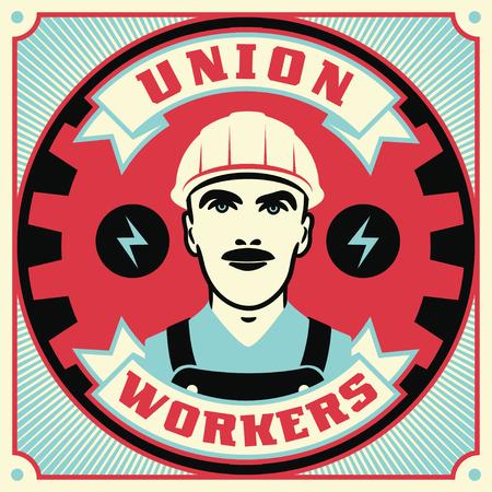 Gewerkschaftsbegriffs-Retro- Illustration. Vintage Poster Design. Vektorgrafik