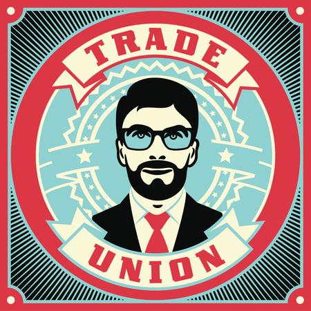 Trade Union conceptual retro illustration. Vintage poster design. Illustration