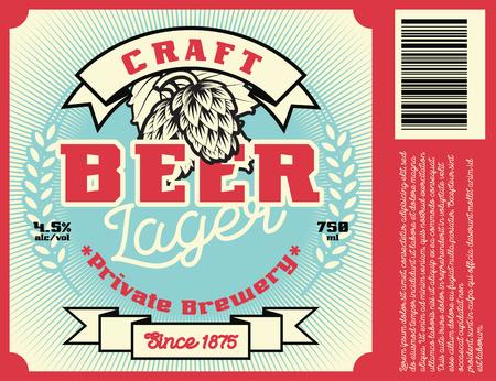 Design de cadre vintage pour les étiquettes de bière, bannière, autocollant. Convient pour tout produit de boisson alcoolisée. Illustration vectorielle rétro Vecteurs