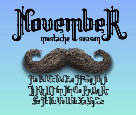 November, mustache season. Prostate cancer awareness month. Decorative gothic typeface. Illustration