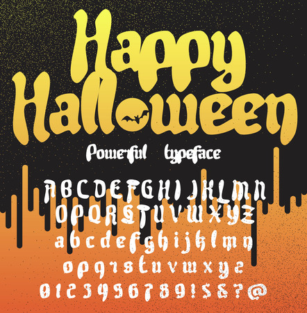 Happy Halloween. Fresh new powerfull gothic typeface. Vector alphabet