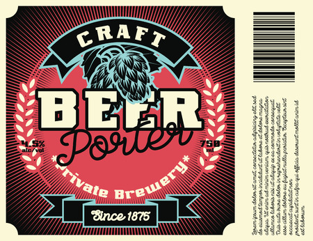 Vintage frame design for beer labels, banner, sticker. Suitable for any alcohol drink product. Retro vector illustration