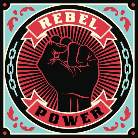 高められた抗議人間の拳。レトロ革命ポスターデザイン。ヴィンテージプロパガンダイラスト
