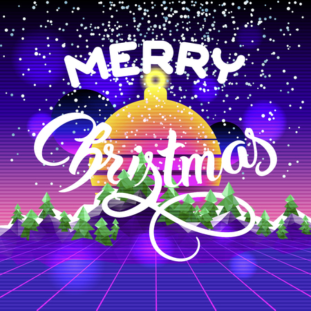 Merry Christmas and Happy New Year congratulation card. Retro synyh wave landscape Illustration