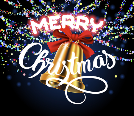 Merry Christmas lettering congratulation card with gold bell with red bow and colorful garland