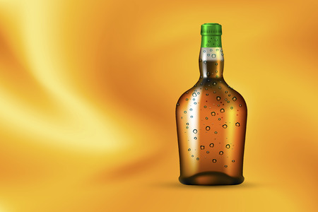 rum: Alcohol drink bottle with dew drops on the gold silk background. Mockup for liquid products. Illustration