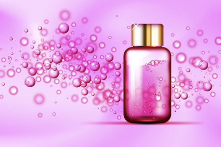 Pink bubbles and parfume glass bottle on abstract silk background. Suitable for beverage, cosmetics, healthcare concepts. Vector illustration Illustration