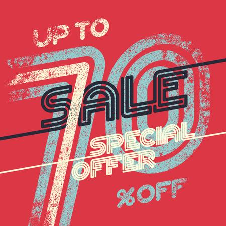 Sale grunge vintage poster. Special offer template ut to 70% off. Vector illustration.