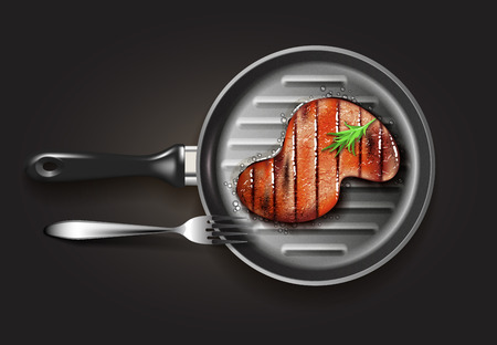 S-shape grilled beef steak with herb spices on grill pan with fork on black background. Vector illustration