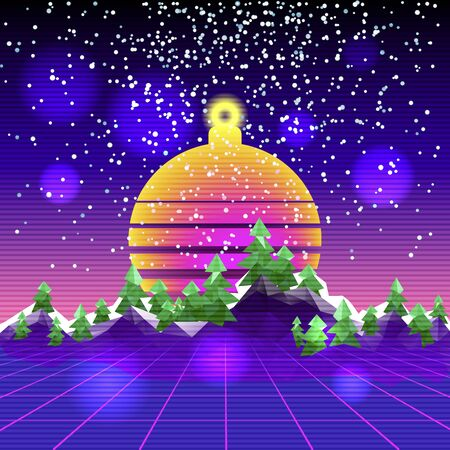 Retro synth wave cyber landscape. Happy New Year congratulation card