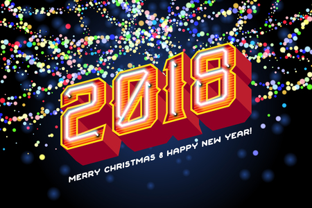 2018 Merry Christmas and Happy new year invitation. Realistic neon glass font with trancparency and shadows and colorful garland