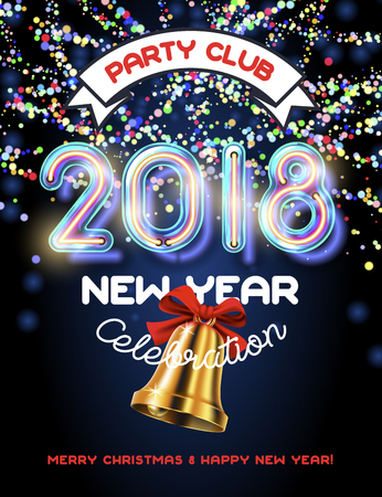 2018 Merry Christmas and Happy new year invitation. Realistic neon glass font with trancparency and shadows and colorful garland and golden bell Illustration