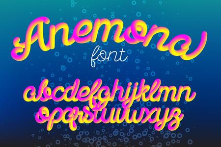 Anemona color 3D alphabet vector pipe font on black background