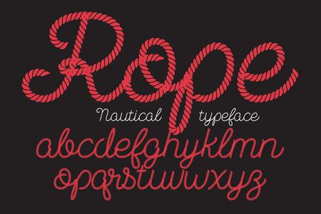 Rope alphabet vector font on blue background. Illustration